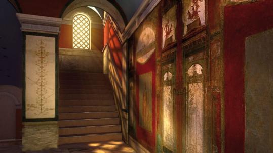Stairway with frescoes Domus Romane Palazzo Valentini