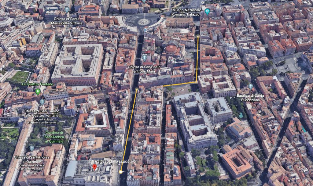 From Hotel Columbia to Palazzo delle Esposizioni Map